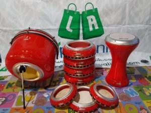 Rebana Hadroh Polos Metalik Lengkap Warna Merah
