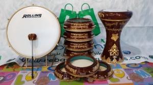 Rebana Hadroh 1 Paket Ukiran Lengkap Warna Coklat 001