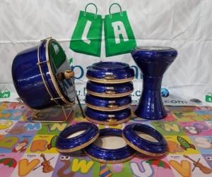 Rebana Hadroh Jepara 1 Set Polos Metalik Warna Biru Tua 001